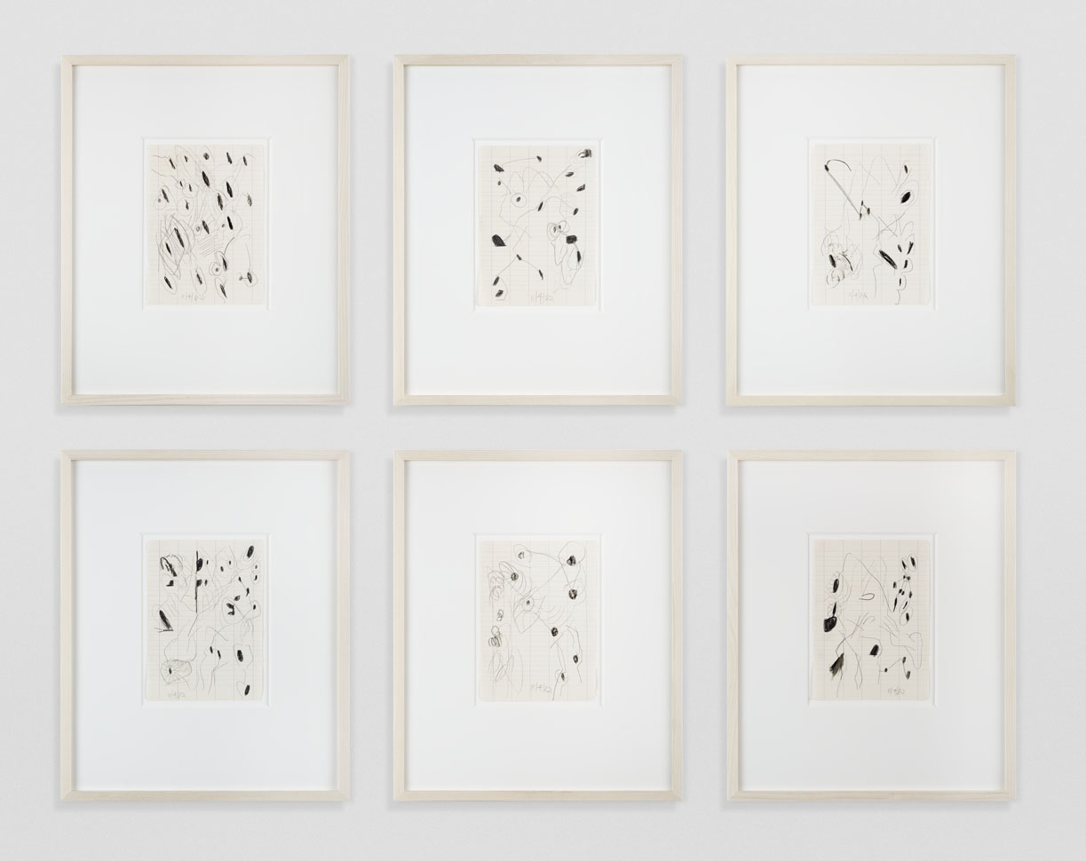 <i>Untitled (11/4/82)</i>, 1982, wax crayon and pencil on paper, 6 parts: 8 x 5 3/4 inches (20.3 x 14.6 cm) each.