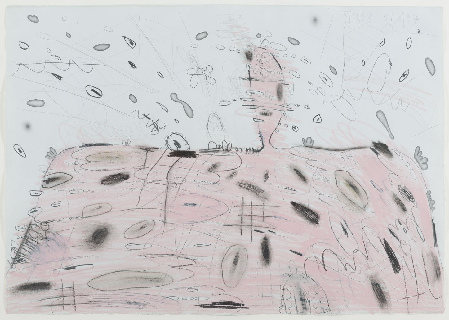 <i>Pink Mound with Eruption (5/18/93, 5/19/93)</i>, 1993, wax crayon and graphite on paper,19 5/8 x 28 inches (49.8 x 71.1 cm)