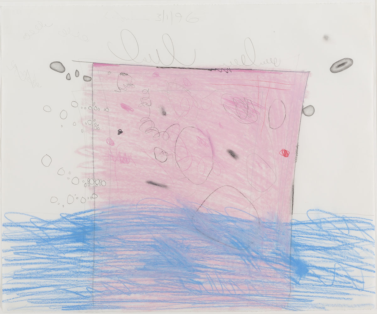 <i>Untitled (3/1/96)</i>, 1996, wax crayon and pencil on paper,18 3/8 x 22 1/8 inches (46.7 x 56.2 cm)